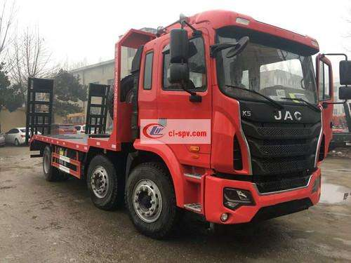 JAC front four rear eight flatbed transport truck pictures