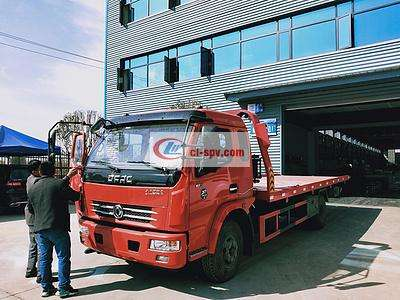 5吨东风多利卡D8平板一拖二道路清障救援拖车图片