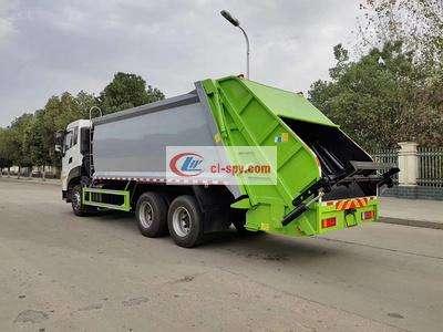 国六东风天龙后双桥20方压缩式垃圾车图片