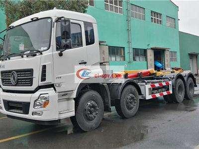 东风天龙30吨前四后八勾臂式垃圾车图片