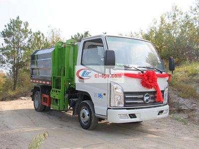 国六凯马4方 small 挂桶垃圾车(汽油版)图片