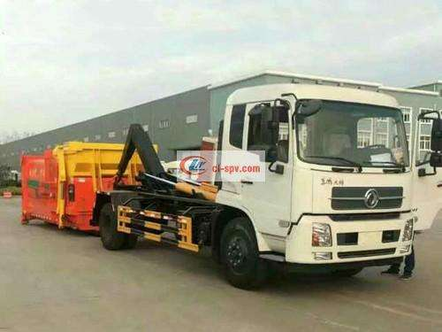 Dongfeng Tianjin 12 square hook arm garbage truck picture