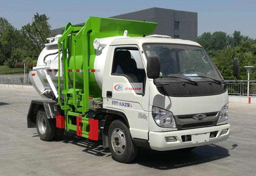 Foton Xiaokazhixing 3 Blue Brand Kitchen Garbage Truck (Round Can)