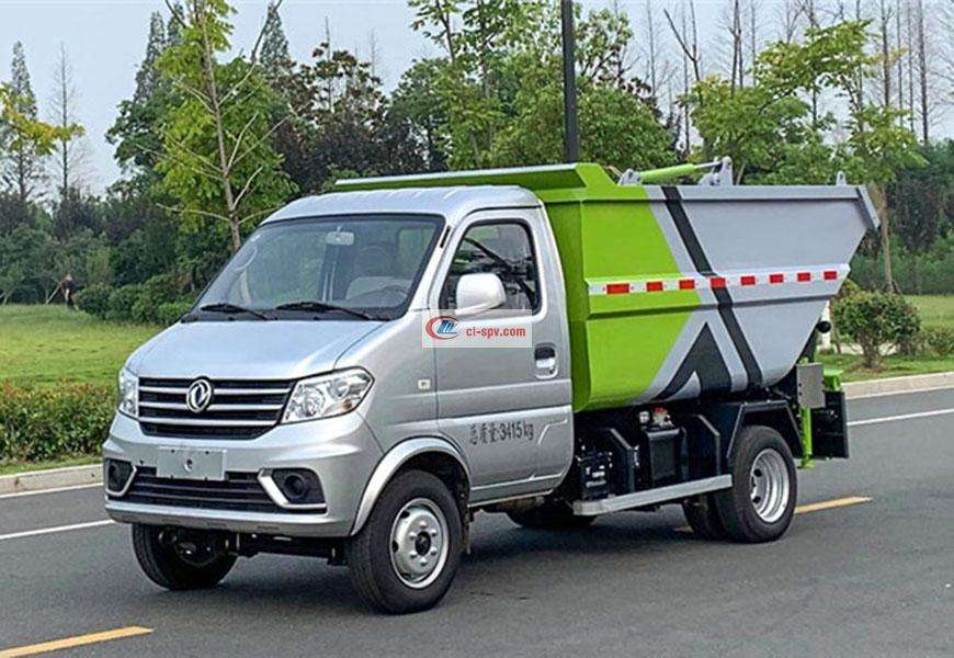 Dongfeng Xiaokang 3-party rear-mounted high-mounted bucket non-leakage garbage truck