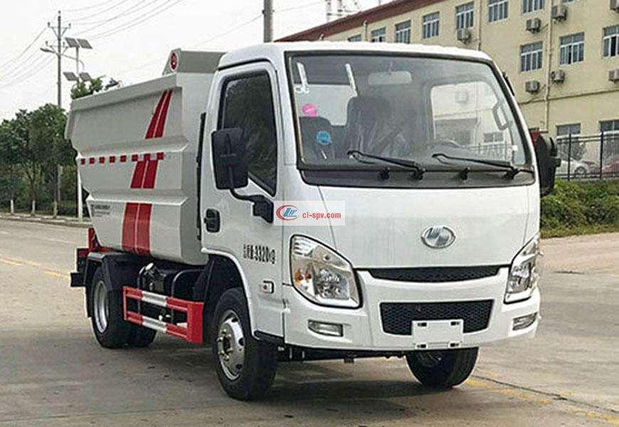 Yuejin S70 rear-mounted high-mounted bucket non-leakage garbage truck National VI