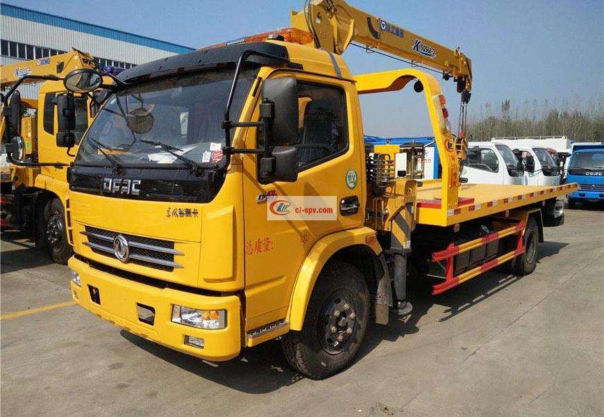 Dongfeng Capt CLW5091TQZD5 flatbed wrecker with crane